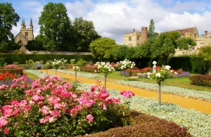 Rose garden in summer with house and church in view (c) Penshurst Place & Gardens
